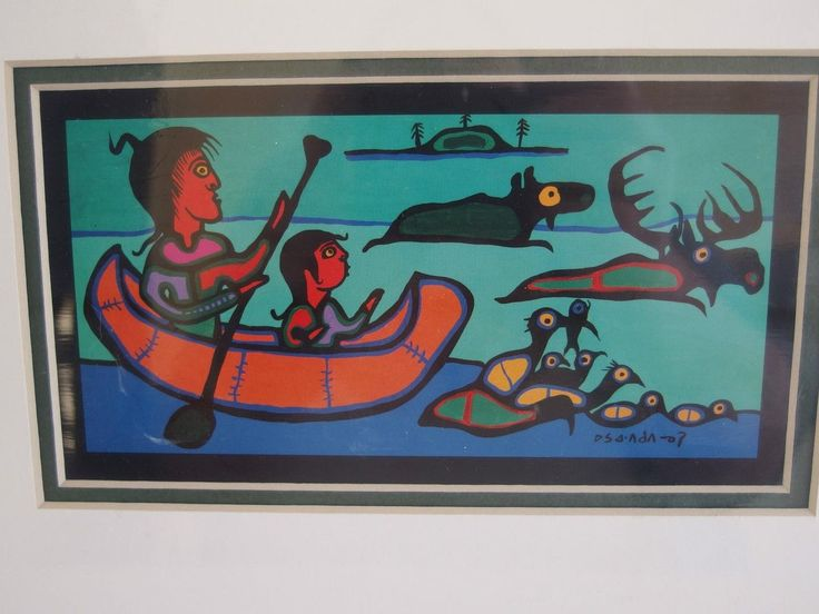 New Norval Morrisseau Canadian Shaman Teaching Grandson Matted Card Print | #1724202613
