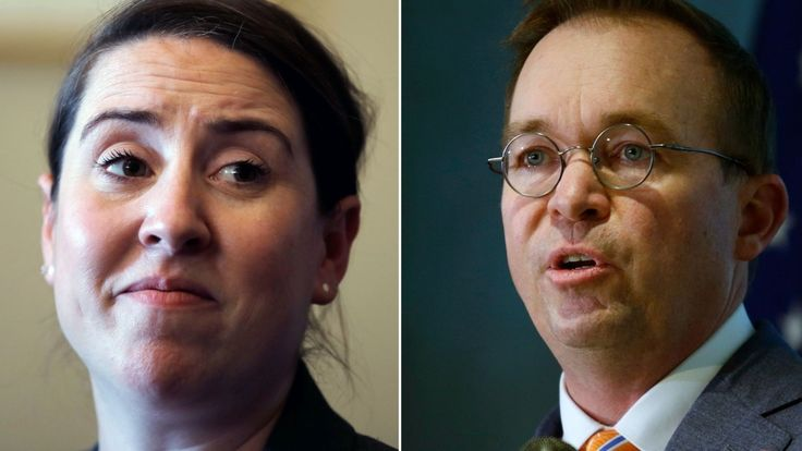 Consumer Financial Protection Bureau Deputy Director Leandra English, left, is attempting to unseat Mick Mulvaney, the agency's acting director