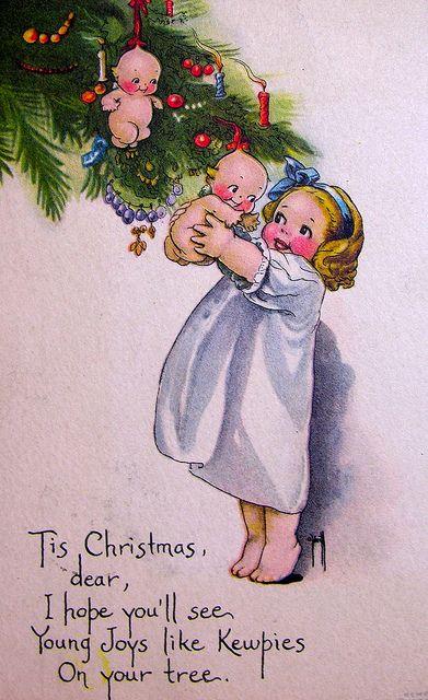 ChristmasVintage Postcards, Vintage Christmas Cards, Christmaschristmas Decor, Kewpie Dolls, Christmas Baby, Christmas Candies, Christmas Holiday, Christmas Trees, Vintage Image
