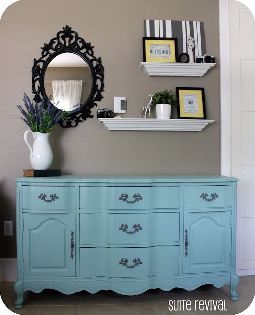 Love this Aqua Dresser...You don't have to center a large mirror over your dresser