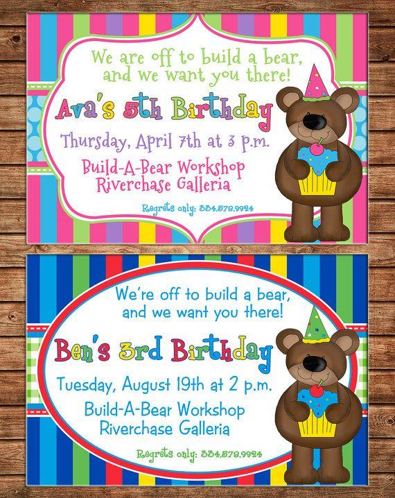 Girl or Boy Teddy Bear Build a Bear Birthday Invitation - DIGITAL FILE