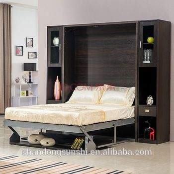 chinese the latest design bedroom furniture wooden invisible bed used wallu2026