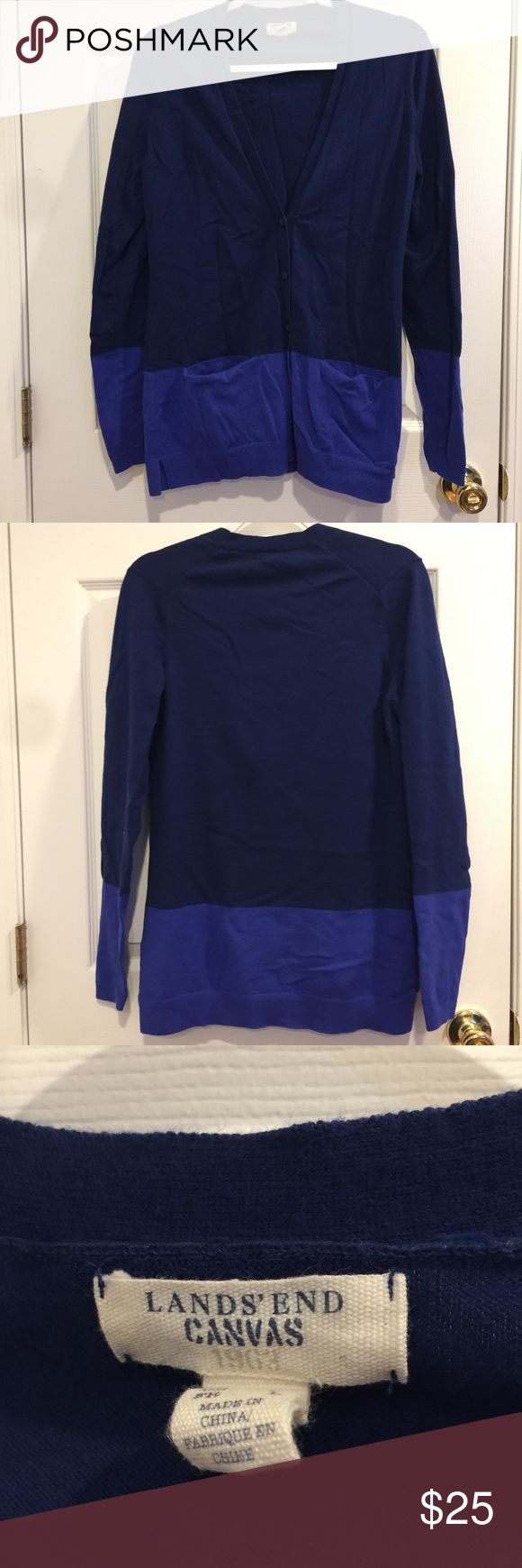 💕SALE💕Lands' End Cardigan Size medium royal and navy blue cardigan. Brand is Lands' End. Has pockets on the front. It's a thicker cardigan so it will keep you warm. No flaws, just a little wrinkled from being stored away. Great condition! Lands' End Sweaters Cardigans