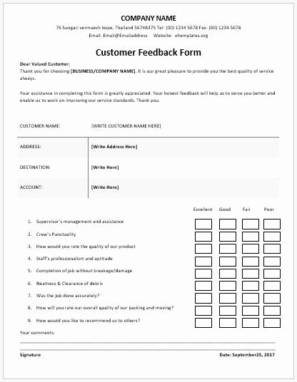 Image Result For Customer Feedback Form Template Word