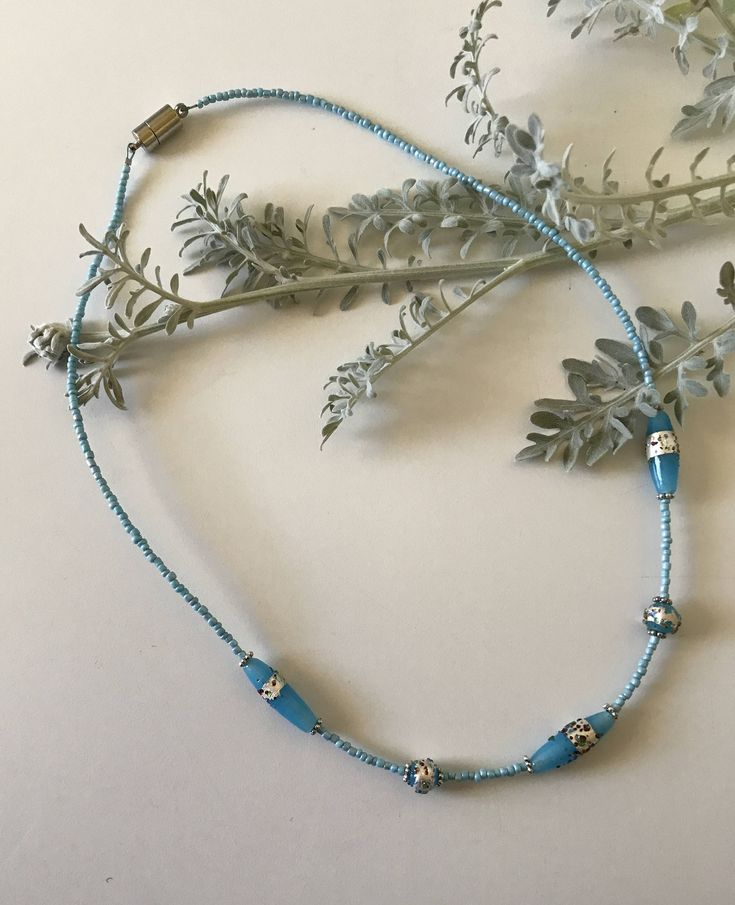 Beachy blue foil Lampwork magnetic beaded necklace from CraftyChicHandmade on Etsy