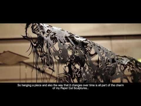 "Best Paper Artists: ""I love the nature... animal... something has life.""  BYAKU, Paper Cut Sculpture -- Nahoko Kojima"