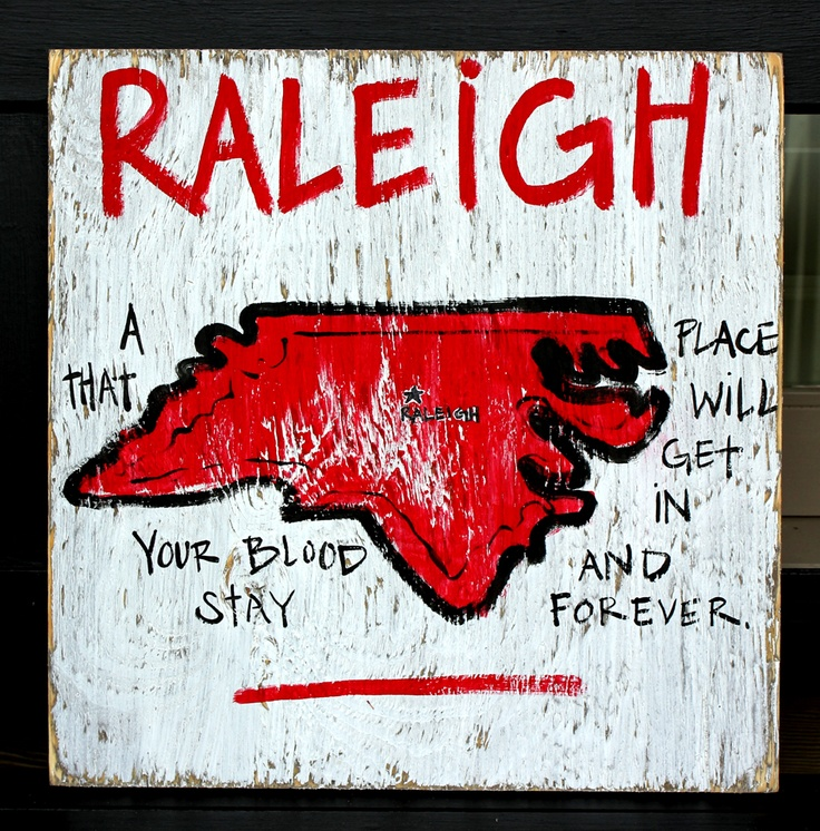 Raleigh, NC by Simply Southern Signs available on BourbonandBoots.com