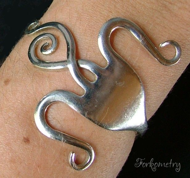 Forkometry Silver Dessert Fork Bracelet or Wear as a Cuff or Bangle Spoon and Fork Jewelry Art