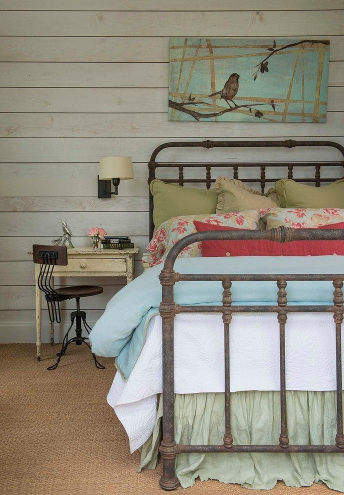 antique rod iron beds with farmhouse bedroom also blue bedding rh pinterest ca