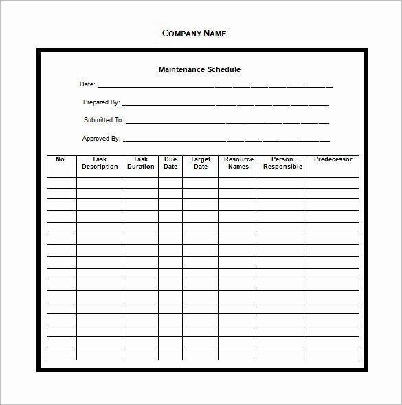 Preventive Maintenance Schedule Pdf Best Of Vehicle Maintenance Schedule Templates 10 Fre Cleaning Schedule Templates Preventive Maintenance Checklist Template