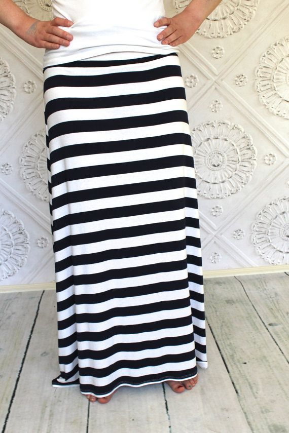 nautical navy blue and white striped maxi skirt by
