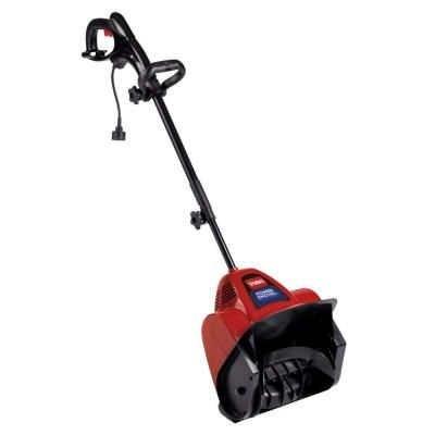 The Toro Electric Power shovel snow blower delivers a 12 in. snow clearance, making this an ideal choice for sidewalks, steps, decks and small driveways. This powerful blower moves up to 300 lb. of snow per minute and blows snow up to 20 ft. away, helping you quickly and easily clear an area. The blower's telescoping handle alters the handle height to fit the user, and its adjustable handle controls are easy to use. The blower is rust-resistant for long-lasting use.