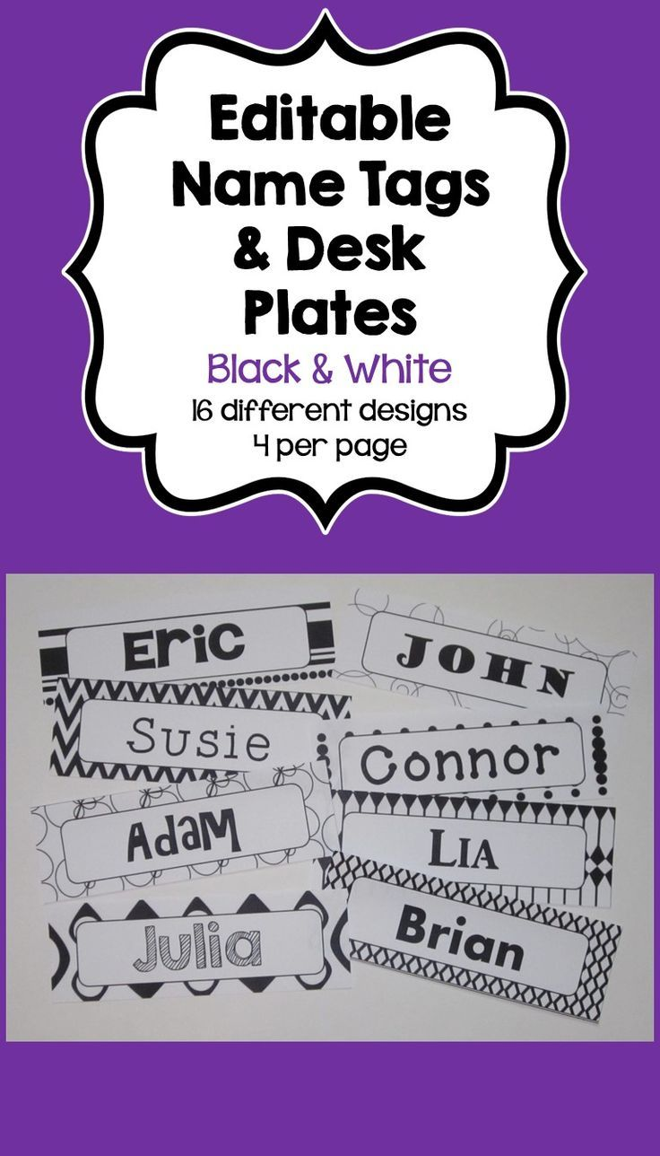 These Editable Name Tags & Desk Plates feature 4 different name tags/desk plates per page with 16 different Black and White designs.  The text is editable so you can customize to your own needs. You can change the font, font size, or font color to customize the Name Tags.