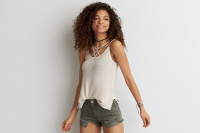 AEO Strappy Sweater Tank  by  American Eagle Outfitters | Your favorite light sweater meets your go-to tank for a warm weather win.  Shop the  *Color?* AEO Strappy Sweater Tank  and check out more at AE.com.