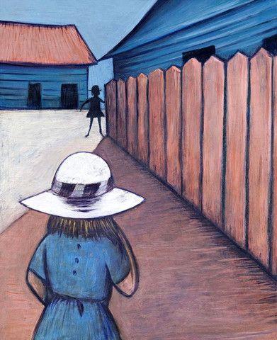 Charles Blackman 'Schoolgirls in Laneway 1953' - pigment print on pape – Angela Tandori Fine Art