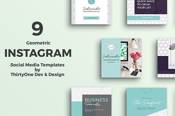 Geometric Instagram Templates by ThirtyOne Dev on @creativemarket  --  FREE until Sunday, 11/19/2017.