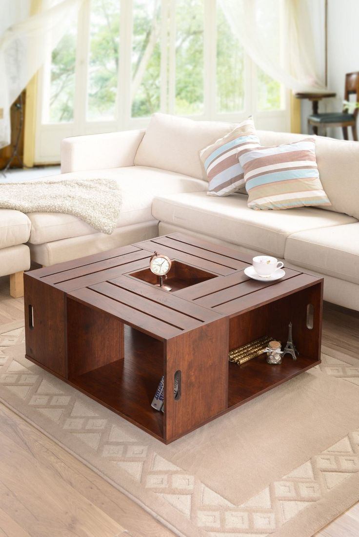 Amazon.com: Furniture Of America Trenton Crate Coffee Table