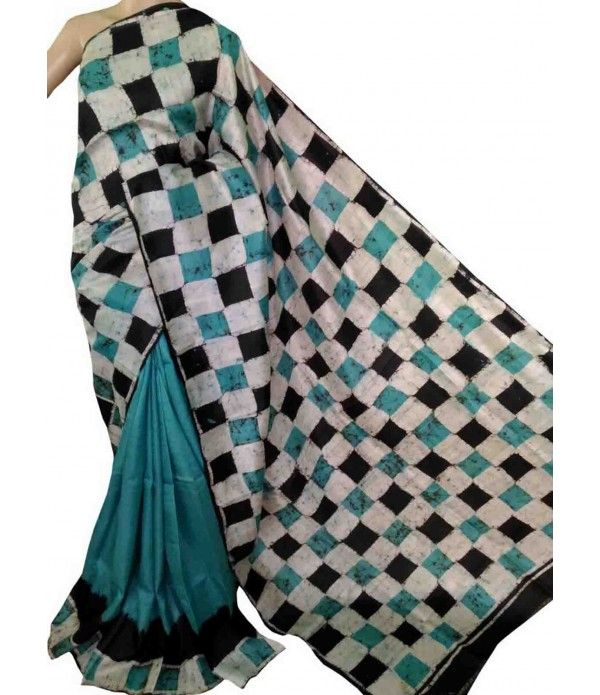 Blue Pure Handloom Murshidabad Silk Batik Print Saree