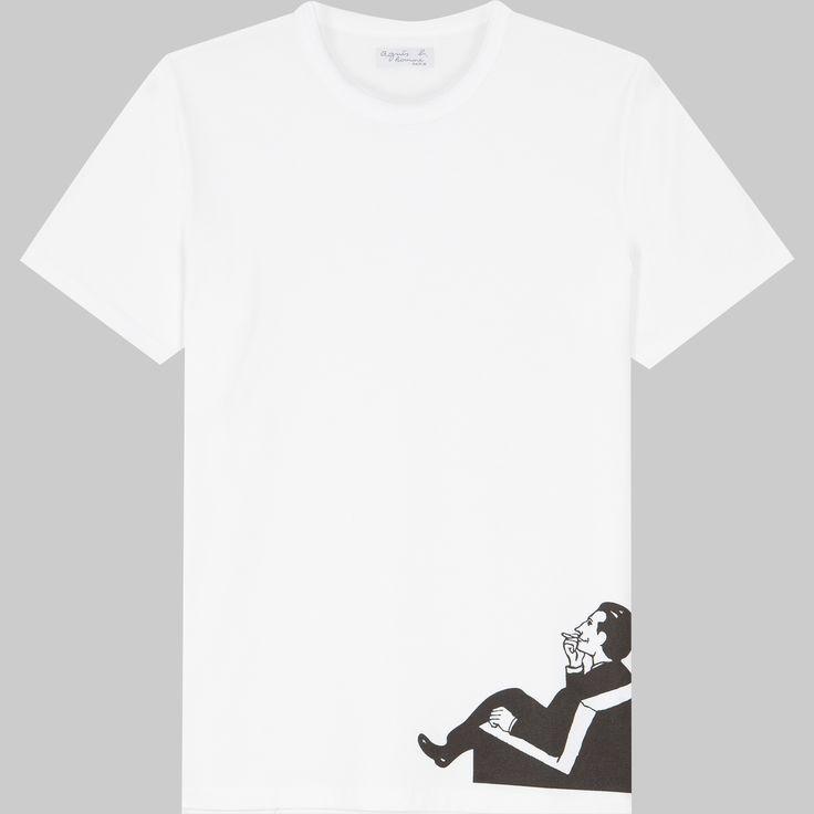 t-shirt François Olislaeger blanc le t-shirt manches courtes est conçu en coton animé d'une sérigraphie exclusive de François Olislaeger pour agnès b.