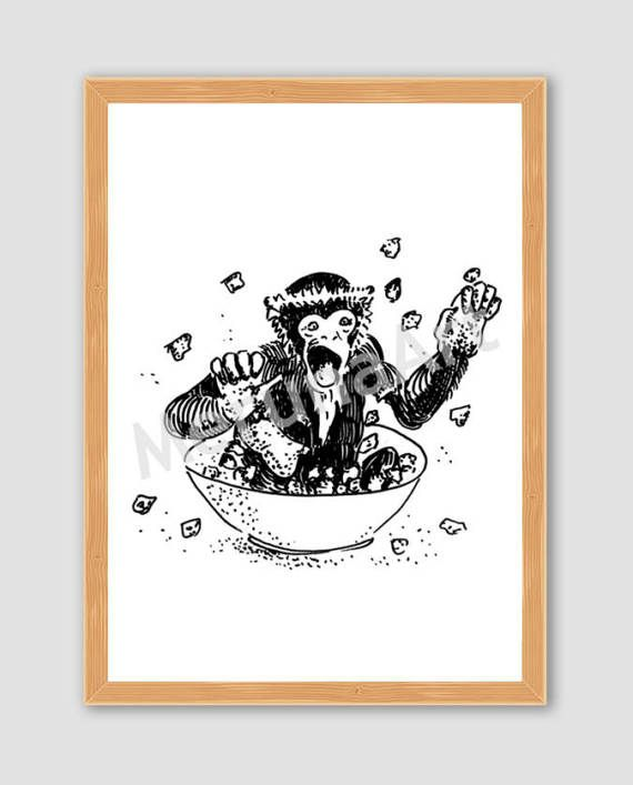 Crazy Funny Monkey Drawing Download Printable Art by MerunaArt #gift #idea #monkey #art #illustration