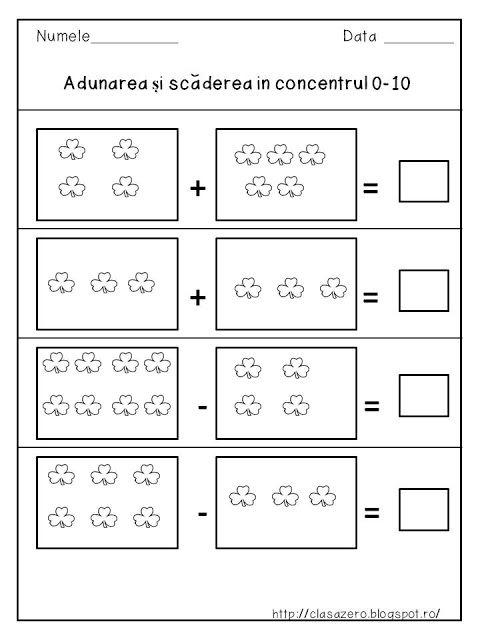 Clasa pregatitoare: Adunarea si scaderea in concentrul 0 - 10