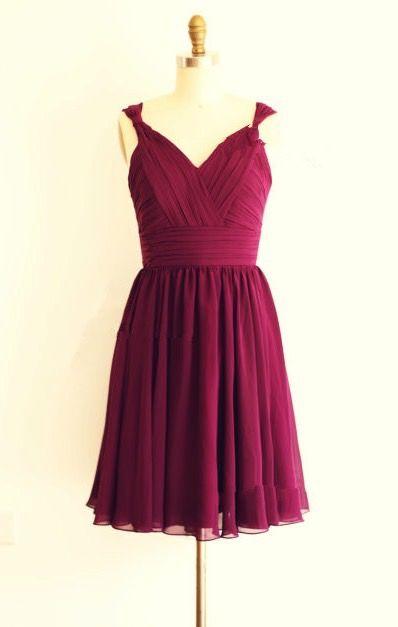 Simple and Lovely Burgundy Knee Length Chiffon Bridesmaid Dress