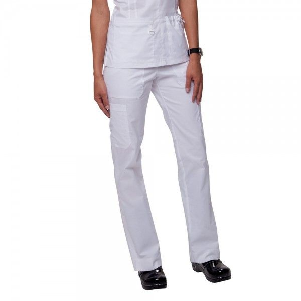 White Koi Stretch Lindsey Trousers. Do you like a more figure hugging scrub trouser leg? then the koi Stretch Lindsey Scrub Trousers are perfect for you. These slim fitting scrub trousers are figure flattering but with an extra stretch for comfort. £29.99  #medicalscrubs #nursescrubs #dentistscrubs #nurses #dentists #whitescrubs #nurseuniform