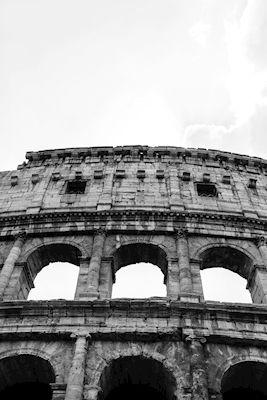 Lova Dorotea - Tre fönster b/w. Black and white photograph of Colosseum in Rome, Italy. Available as poster and laminated picture at Printler, the marketplace for photo art.