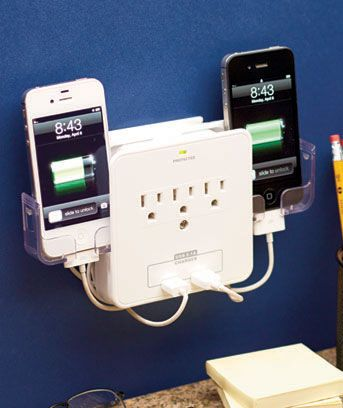 deluxe smartphone charging station cradles 2 phones as they charge and includes 3 additional outlets