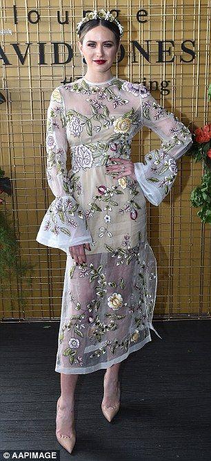 Jesinta Campbell in Rachel Gilbert dress - Caulfield Cup in Melbourne.  (15 October 2016)