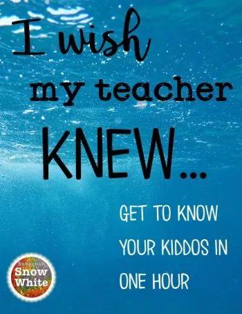 I wish my teacher knew ~ a gamechanger