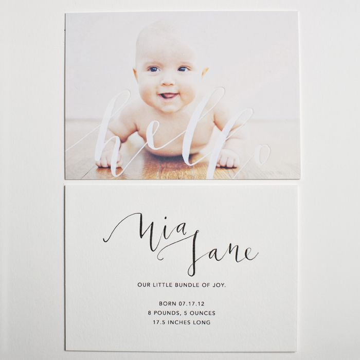 omg. letterpress baby announcements. these are beautiful / yes ma'am