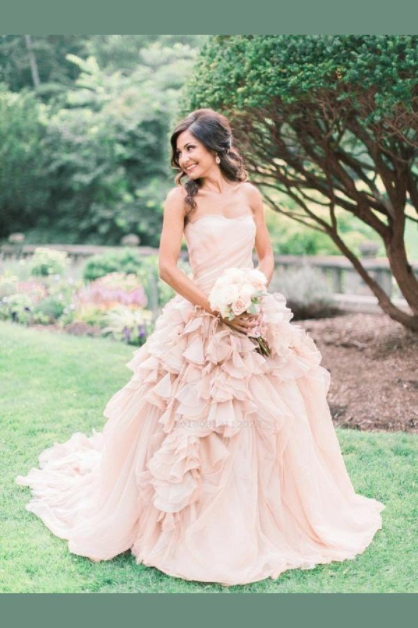 Cute Wedding Dress Pink Wedding Dress Wedding Dress Ball Gown Blush Wedding Dress Cute Wed Wedding Dresses Blush Ruffle Wedding Dress Pink Wedding Dresses
