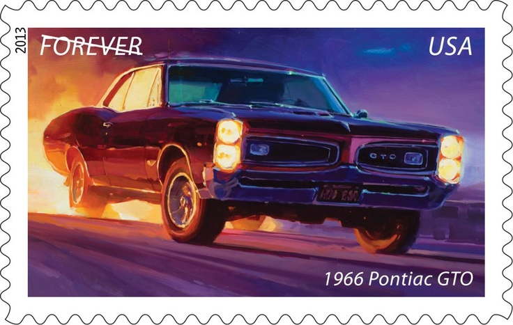"""The Pontiac GTO ushered in the era of the American muscle car in the 1960s, just as baby boomers began to come of age. The 1966 model (the """"Goat"""") featured curvy Coke-bottle styling and could really move, going from 0 to 60 miles per hour in 6.8 seconds. In 2013, the GTO will roar in again as one of five Muscle Cars stamps.  (General Motors Chevelle and Pontiac Trademarks used under license to the USPS.)"""