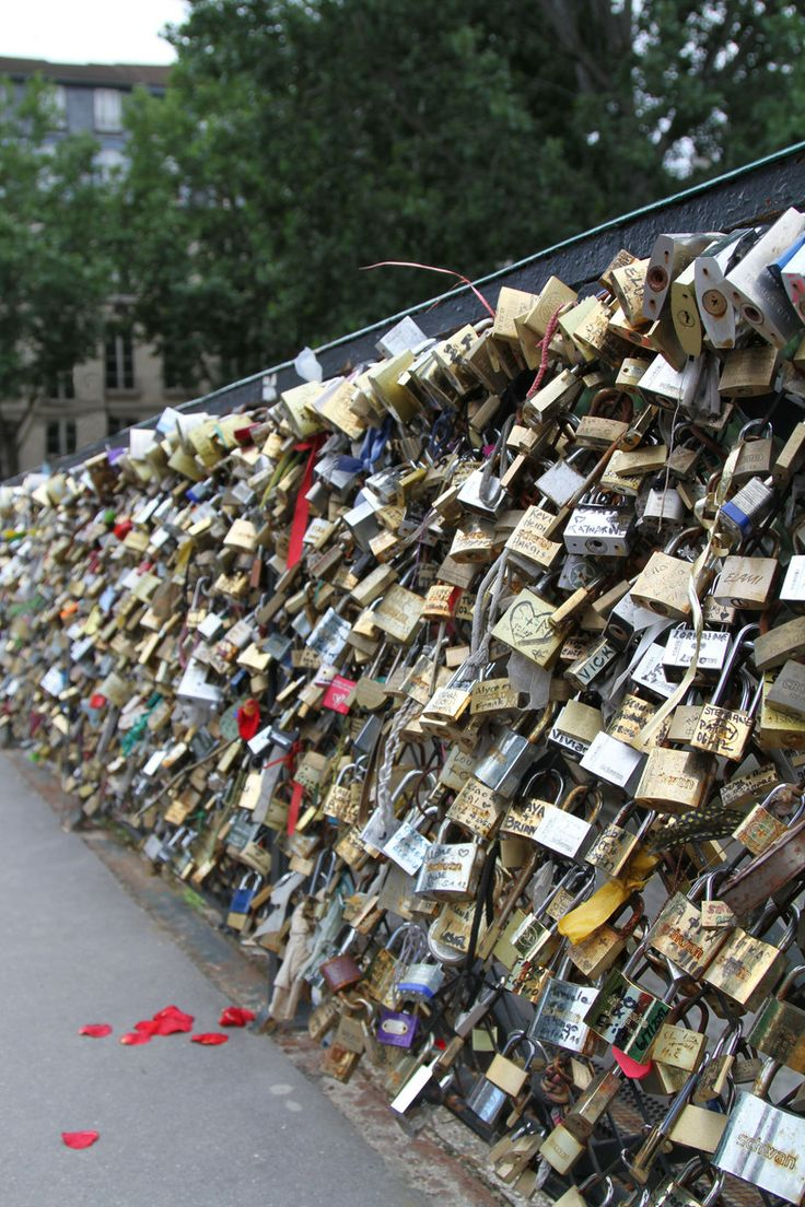 Bridge of love in Paris. Millions of lovers come to this place to add their padlock to the bridge usually with their initials inscribed on it