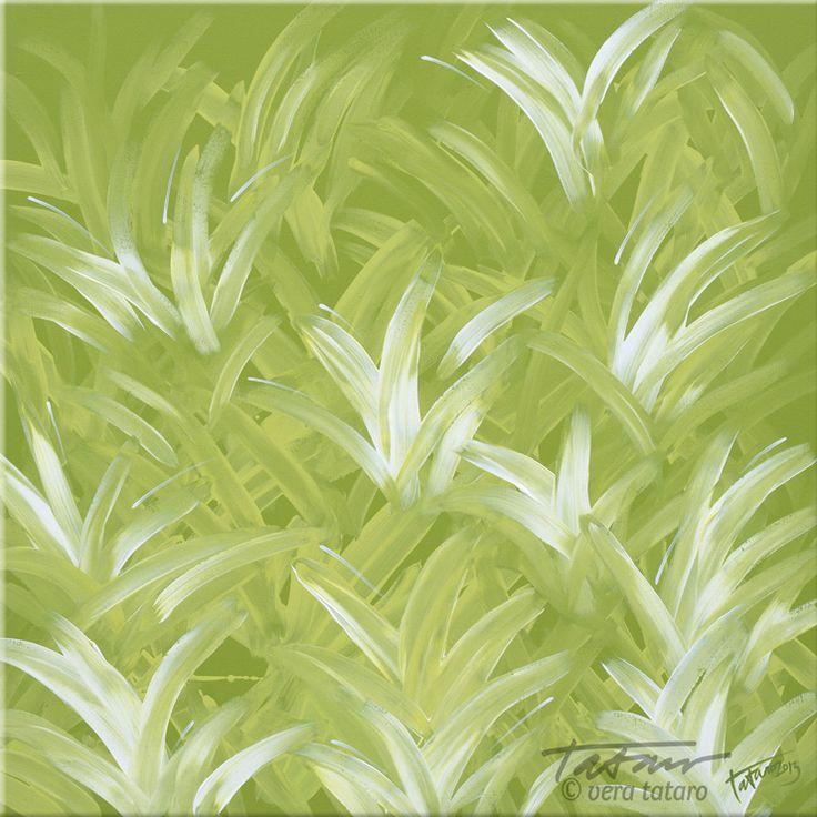 Light in the grass - acrylic painting by Vera Ema Tataro, 80x80 cm