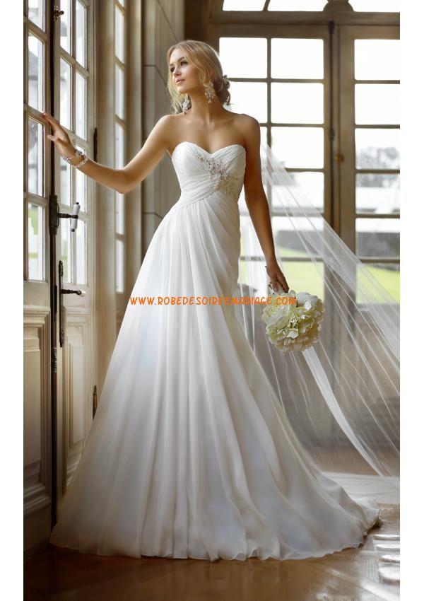 Robe de mariée empire 2013 mousseline perles lacets
