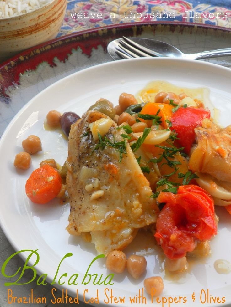 Bacalhau ~ Brazilian Salted Cod Stew with Peppers & Olives