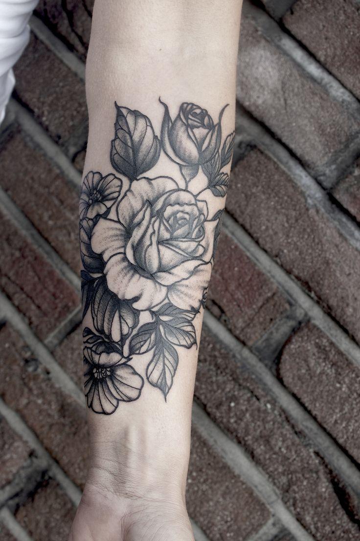 rose flower bouquet tattoo blackwork dotwork peony peonies neo traditional elisabetha botanical elisabethatattoo