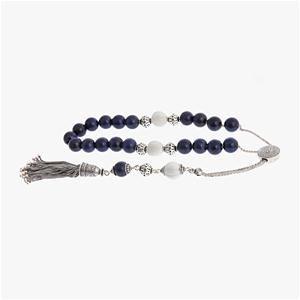 Lapis Lazuli & Shell Gemstones Worry Beads (Komboloi) Sterling Silver 925