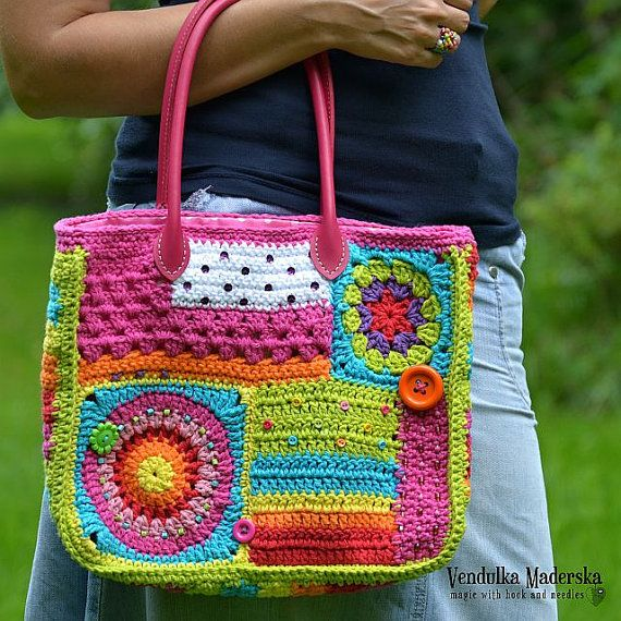 Crazy rainbow bag - colorful and funny crocheted bag  *This is a crochet pattern and not the finished item*  This pattern is written in standard