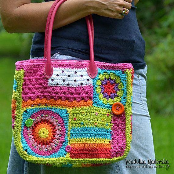 Crochet patrones bolsa Crazy rainbow por VendulkaM por VendulkaM
