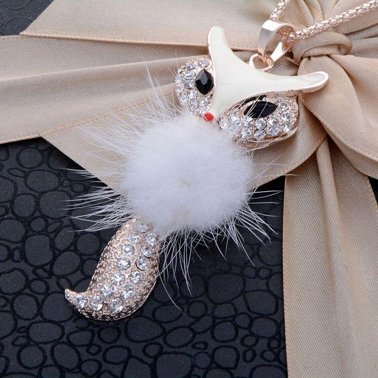 Белая лиса ожерелье девушка collare длинный свитер сплава цинка женщины ожерелья(China (Mainland))