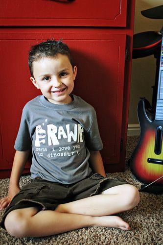 freezer stencil shirt: Dinosaur Freezer, Stenciled Tee, Paper Stenciled, Freezer Paper, Stencil Shirt, Photo, Kid Clothing, Freezer Stencils
