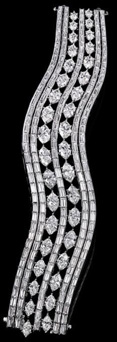 Harry Winston   Marquise Bracelet. 237 baguette and marquise diamonds; 54.80 total carats; platinum setting.