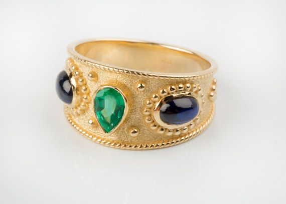 Byzantine Ring, Solid Gold Jewelry, Goldsmith Workshop Made, Danelian Jewelry, Emerald Gold Ring, Blue sapphire ring. Multi Gemstone ring. Wedding gemstone ring, wedding gemstones band. Greek Ring, Byzantine jewelry, Etruscan ring
