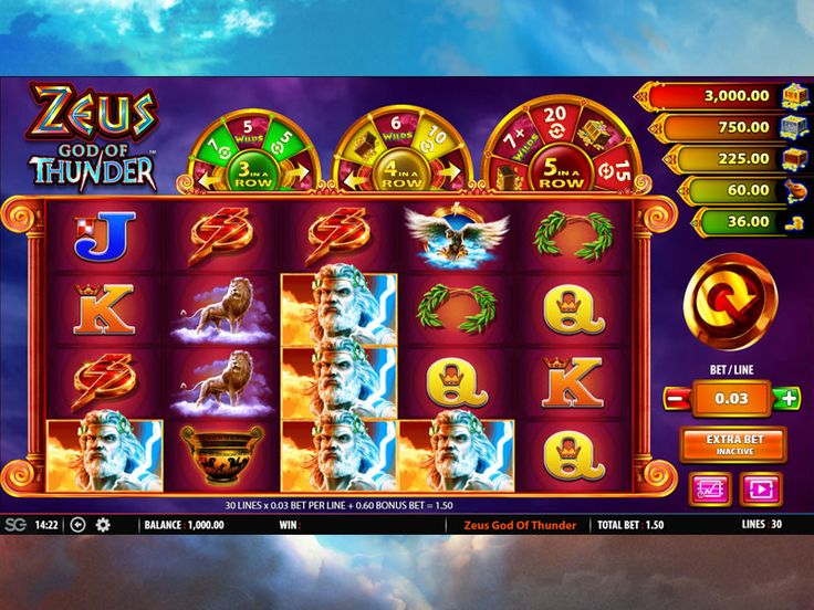 Zeus God of Thunder Slot Machine at EU Casino