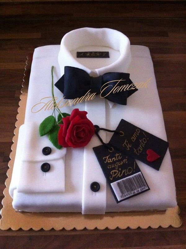 Cake in the form of shirt with Rose