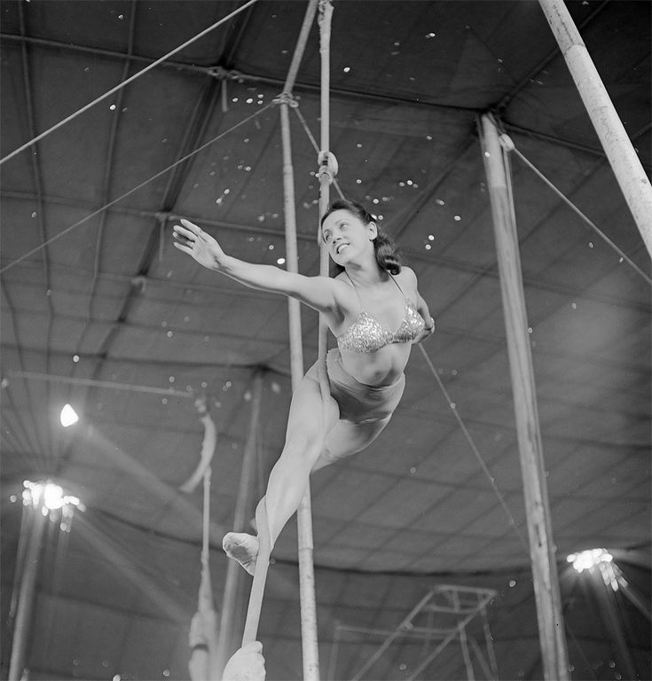 An aerialist rehearsing with a rope for the Ringling Bros. and Barnum & Bailey Circus in Sarasota, FL in 1949.