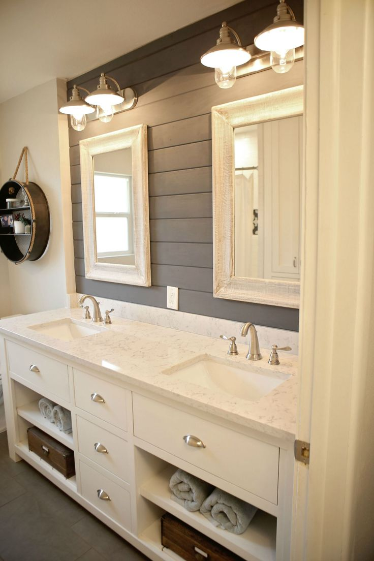 Modern farmhouse farmhouse bathroom austin by redbud custom - Dark Gray Plank Wall In Master Bath With Light Cabinets And Counter